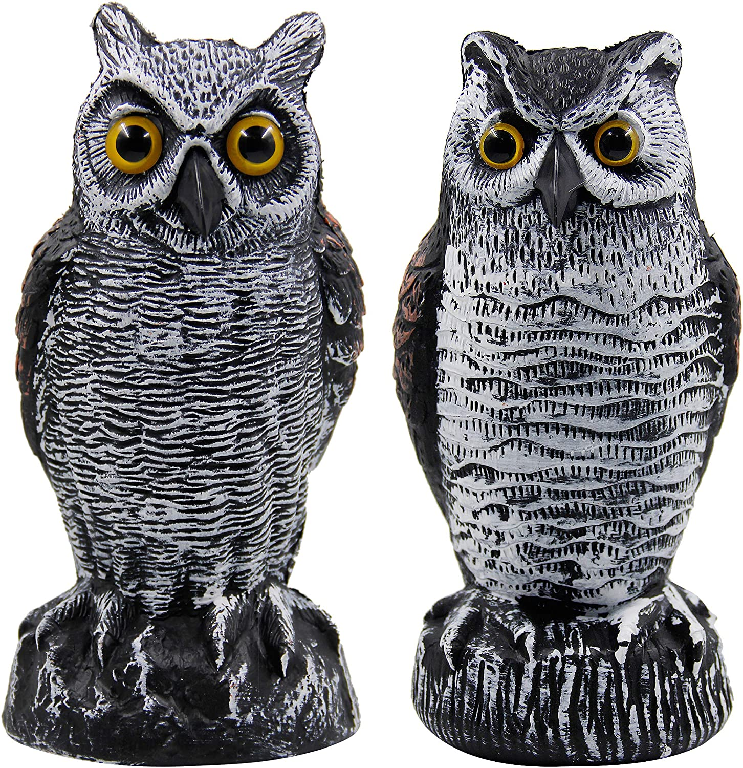 Hausse 2 Pack Fake Horned Owl Bird Scarecrow Decoy, Plastic Owl Bird Deterrents, Nature Enemy Pest Repellent for Outdoor Garden Yard