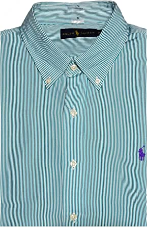Ralph Lauren - Camisa Casual - Cuadros - con Botones - para Hombre Verde Azul Turquesa XL: Amazon.es: Ropa y accesorios