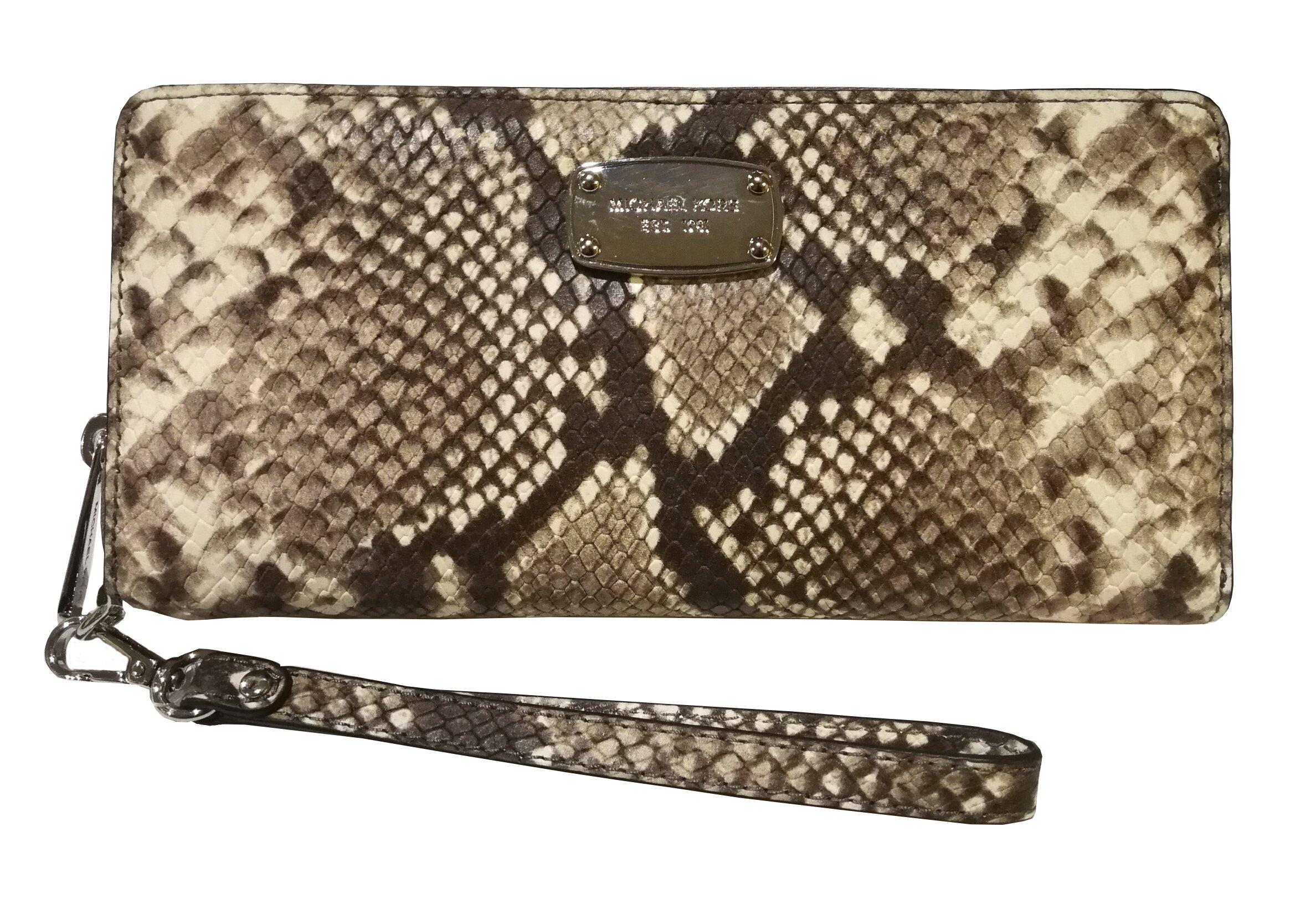 Michael Kors Womens Jet Set Item Travel Continental Embossed Leather Zip Around Wristlet Wallet Natural