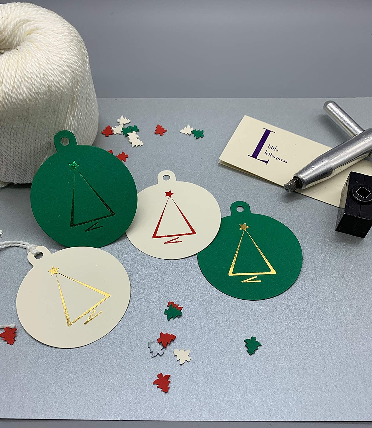 Pack of 12 Christmas Gift Tags hand Foiled Xmas Tree