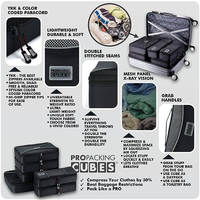 Amazon.com: Pro Packing Cubes,6piezas de cubos ...