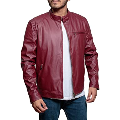fb07377a8fcc4 JNJ Mens Red Biker Motorcycle Slim Fit Faux Leather Jacket - Red (Large)   Amazon.co.uk  Clothing