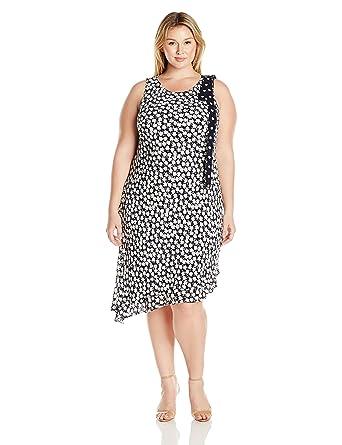 4b16e623c7ddc Taylor Dresses Women's Plus Size Asymetric Mini Daisy Double Tier Maxi,  Black/White 14W