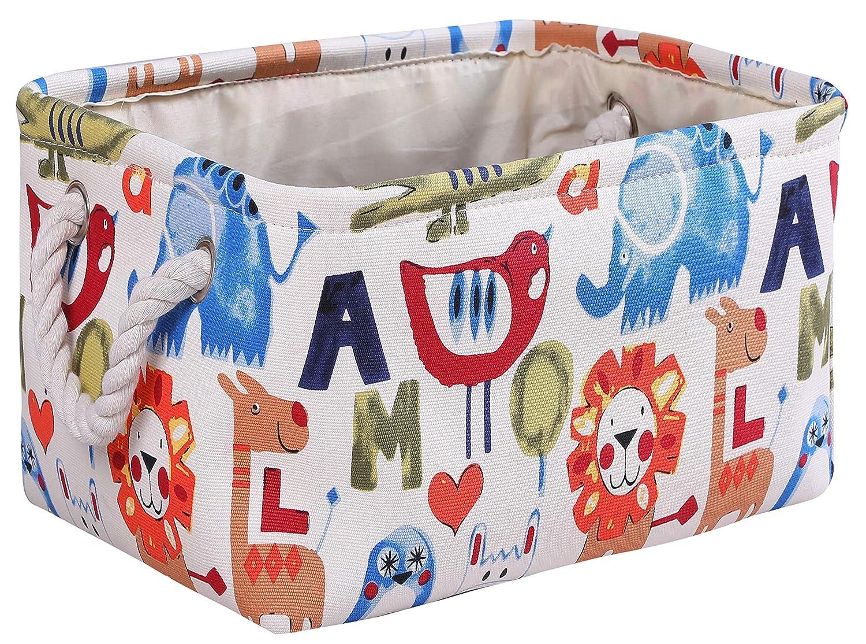MZIMIK Rectangular Storage Basket Collapsible Organizer Bin Thick Toy Box for Organizing Home/Dorm/Kitchen/Pet/Office/Closet/Shelf/Gift Baskets(Zoo)
