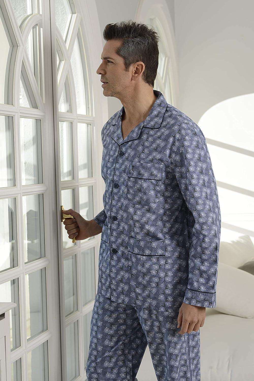 Schlafanzug Herren Zweiteiliger Pyjama mit Langen /Ärmeln und gekn/öpfte Jacke El B/úho Nocturno 100/% Baumwolle Popelinestoff Klassische Nachtw/äsche f/ür M/änner
