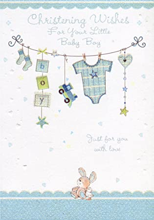 Christening Wishes For Your Little Baby Boy Boy Christening Card Amazon Co Uk Office Products