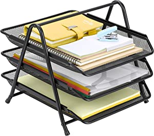 Finnhomy 3 Tier Document Letter Tray File Holder Desktop Organizer Mesh Sliding Paper Accessories Black