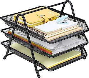 Finnhomy 3 Tier Document Letter Tray File Holder Desktop Organizer Mesh Sliding Paper Accessories Black