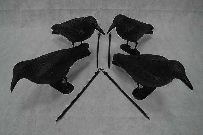 4 Stück Taubenschreck Krähe Rabe 38cm Taubenabwehr Vogelschreck Lockvogel Garten