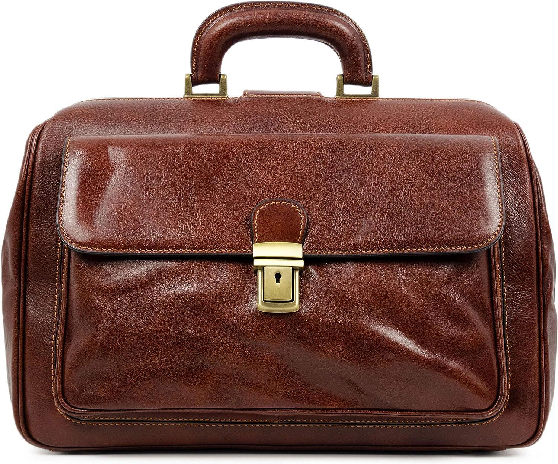 Leather Doctor Bag, Leather Medical Bag, Satchel Bag Brown - Time Resistance