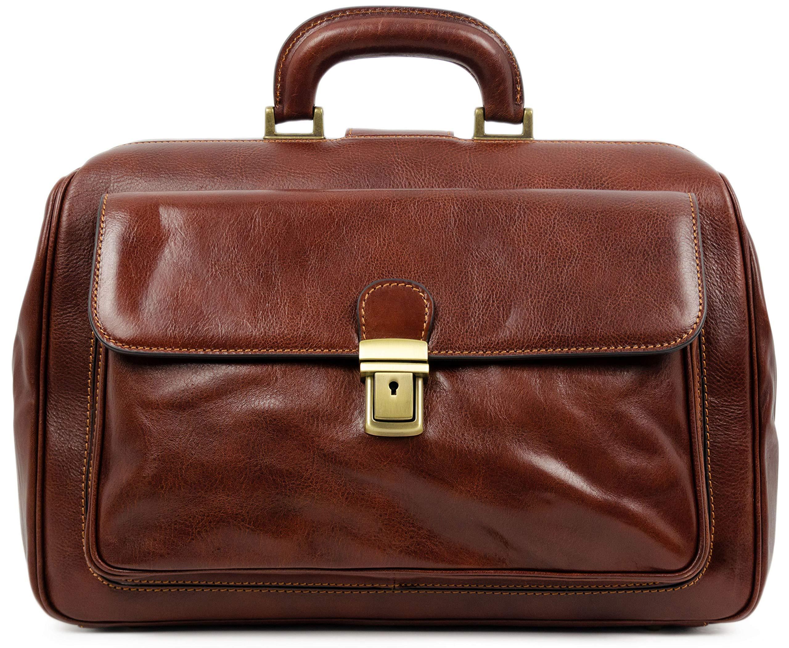 Leather Doctor Bag Leather Medical Bag Satchel Bag Brown - Time Resistance