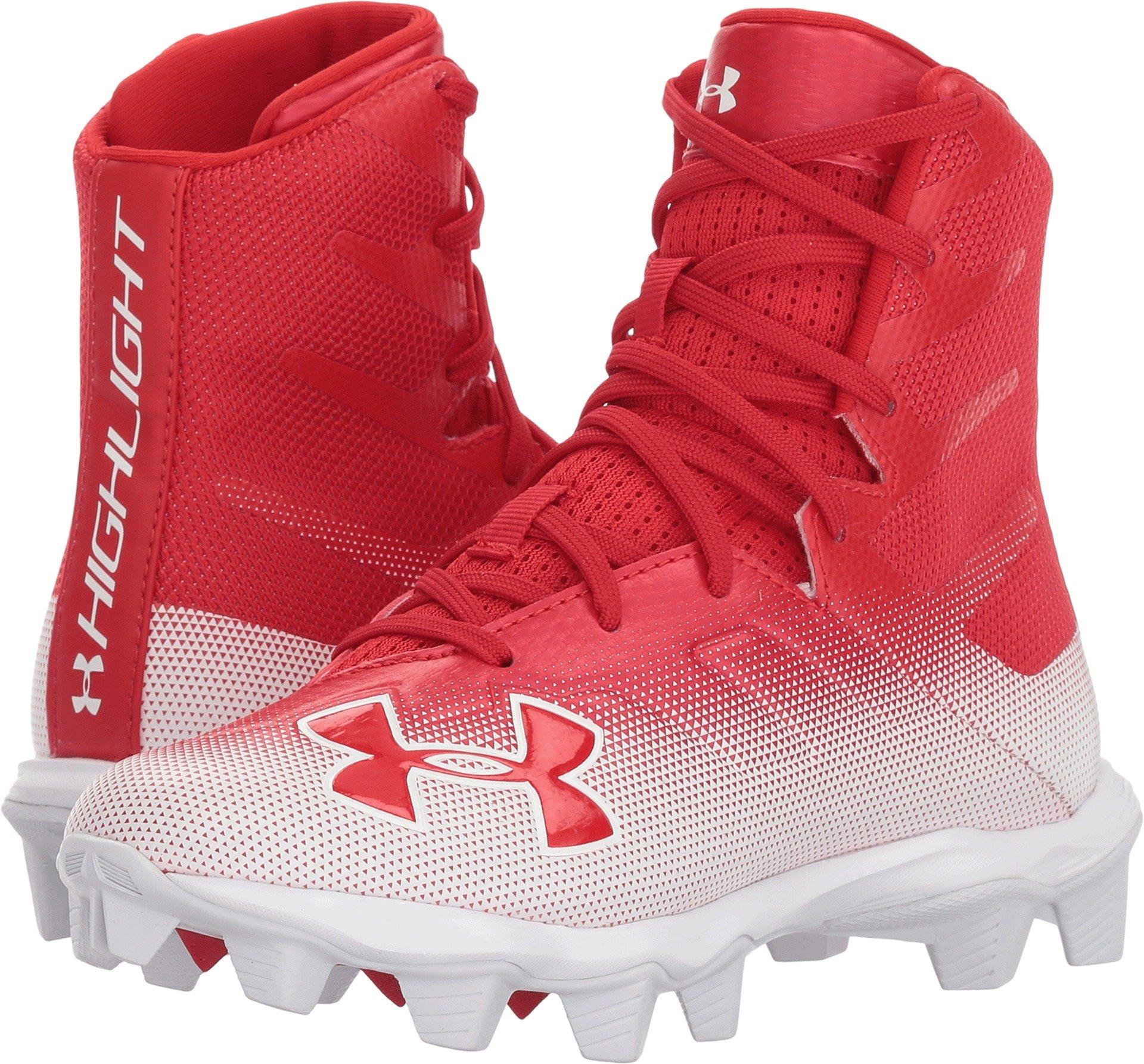 Under Armour Boys' Highlight RM Jr. Football Shoe, Red (600)/White, 4.5
