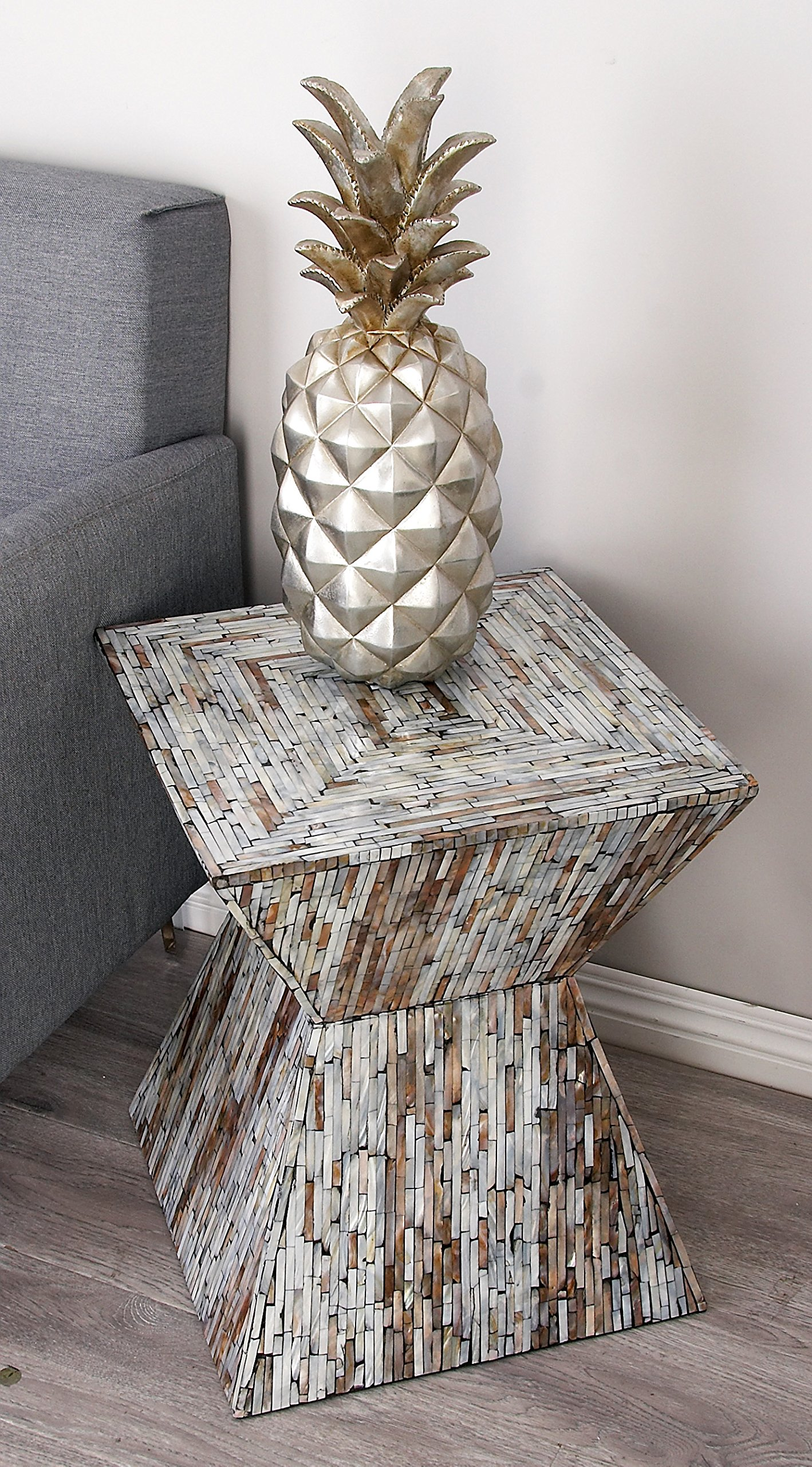 Deco 79 49092 Wood Inlay Accent Table, 16'' x 19'' by Deco 79 (Image #3)