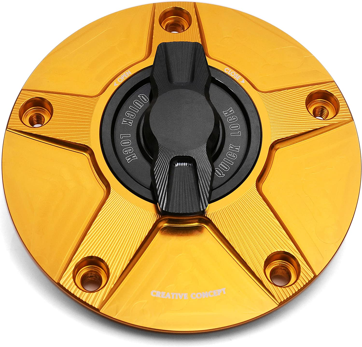 NIMBLE Gold CNC 1/4 Quick Lock Fuel Cap For Kawasaki ZX-6R 2007-2013 NINJA ZX-10R 06-13 08 09 10 11 12