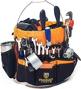 Rugged Tools Bucket Tool Organizer - 64 Pocket Bucket Caddy for 5 Gallon Buckets - Liner Insert for Construction, Garden, Carpenter