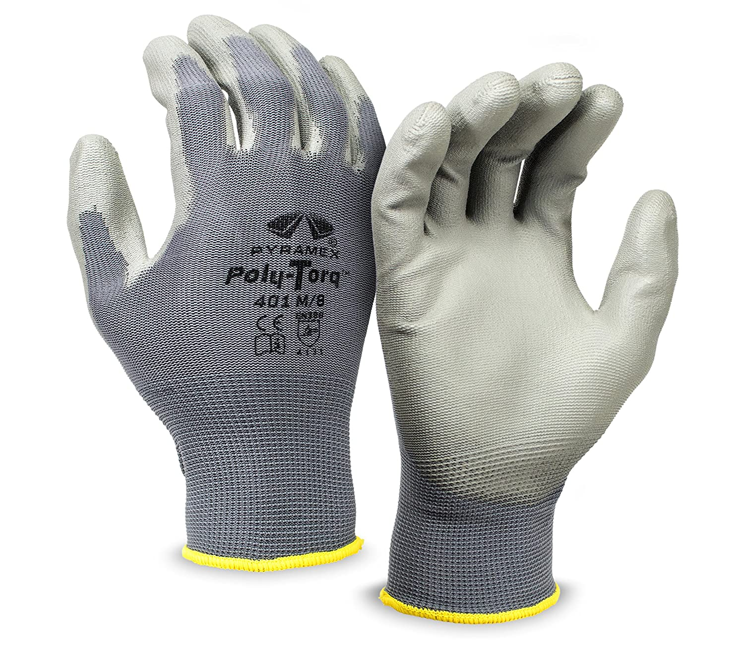 Pack of 12 Small Pyramex Safety GL401 Poly-Torq Polyurethane Work Gloves
