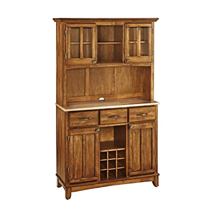 Home Styles 5100 0061 62 Buffet Of Buffets Natural Wood Top Buffet With  Hutch
