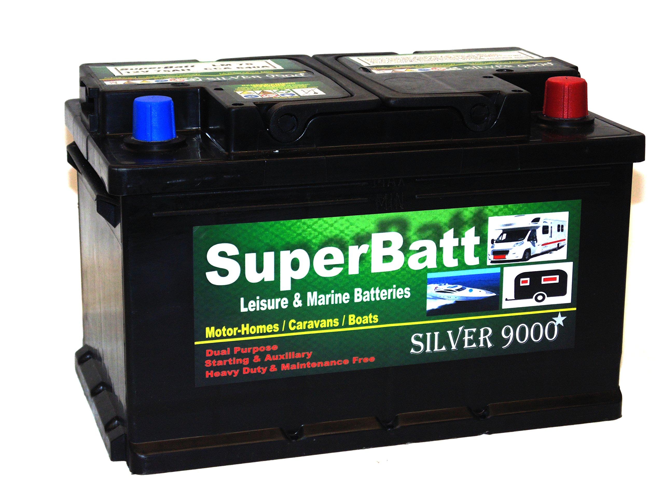 Deep Cycle Leisure Battery 12V 75AH SuperBatt LM75 Battery Caravan Motorhome, Marine Boat