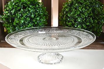 Etagere Weihnachtsdeko.Hkt Home Deco Teller Aus Glas Auf Fuß Ornament Tischdeko Etagere