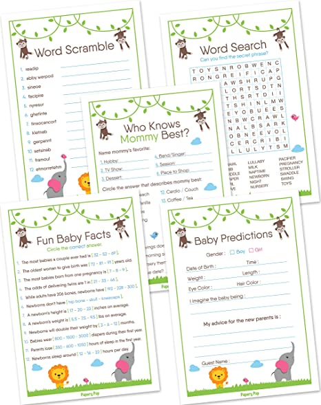 Amazon Com Baby Shower Games For Boys Or Girls Set Of 5