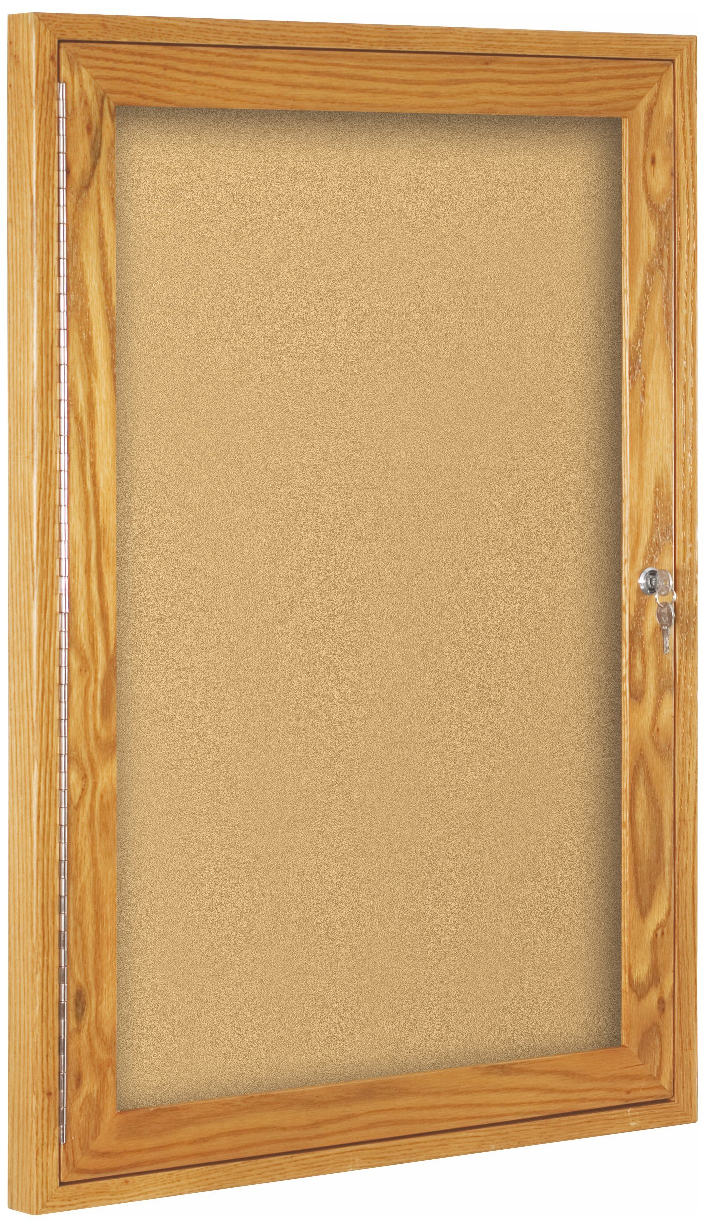 Best-Rite Wood Trim Enclosed Bulletin Board Cabinet, 1 Hinged Door, 36''H x 24''W, Natural Cork, Oak Frame (94HWB)