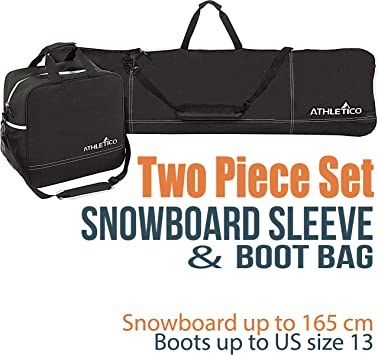 Athletico Two-Piece Snowboard and Boot Bag ComboStore /& Transport Snowboard