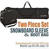 Athletico Two-Piece Snowboard and Boot Bag Combo | Store & Transport Snowboard Up to 165 cm and Boots Up to Size 13…