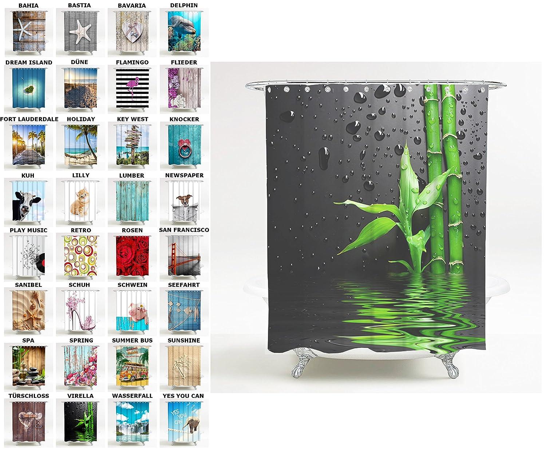 Anti-Schimmel-Effekt wasserdicht 180 x 180 cm, Sunshine viele sch/öne Duschvorh/änge zur Auswahl 12 Ringe Duschvorhang hochwertige Qualit/ät inkl