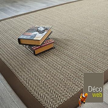 decoweb tapis sisal nairobi chevron ganse coton marron 140 x 200 cm - Tapis Sisal