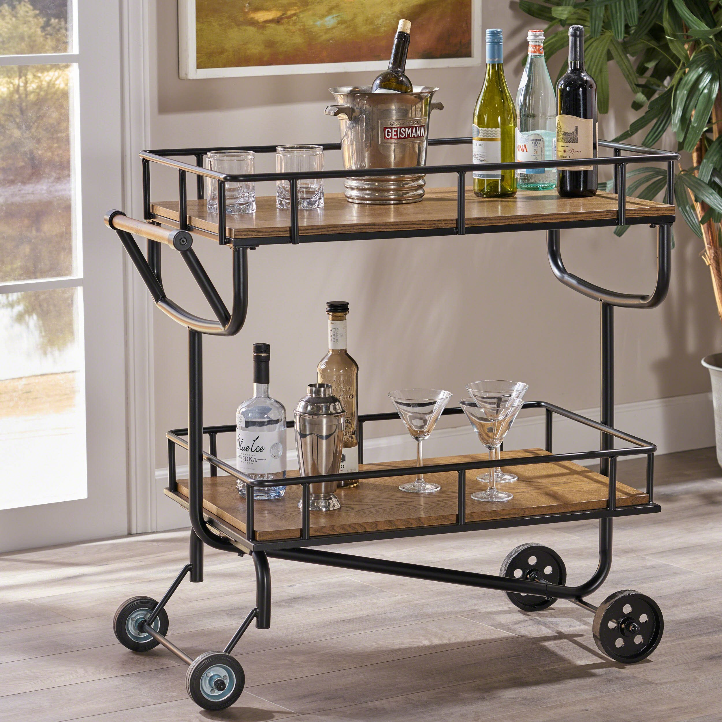 Alice Industrial Brown Finish Faux Wood Bar Cart with Gun Metal Finish Iron Frame
