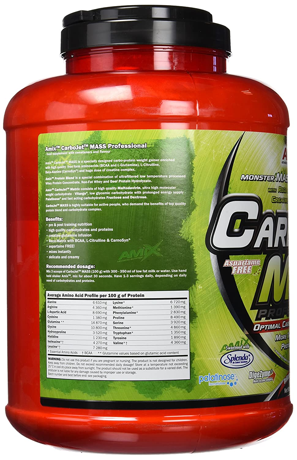 Amix Carbojet Mass Professional 3 kg Fresa y Platano: Amazon ...