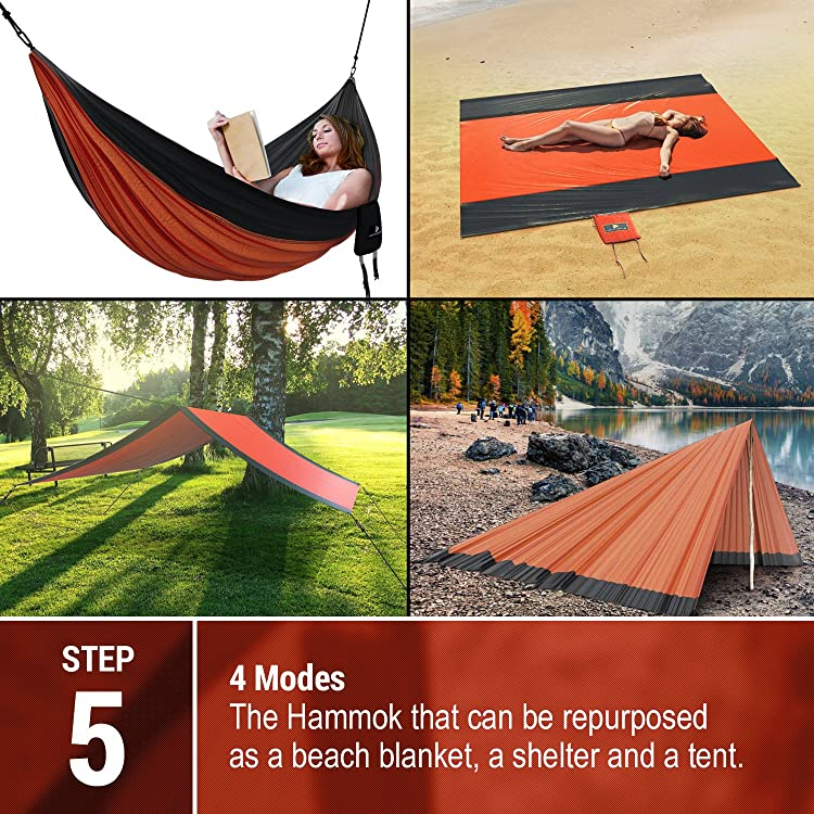 Best XL Double Camping Hammock Waterproof Lightweight Parachute 240T Portable Hammock, 2 Heavy-Duty 1500 lbs Capacity Carabiners, with 2 Tree strap