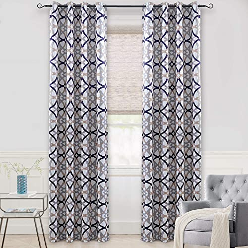DriftAway Alexander Thermal Blackout Grommet Unlined Window Curtains Spiral Geo Trellis Pattern Set of 2 Panels Each Size 52 Inch
