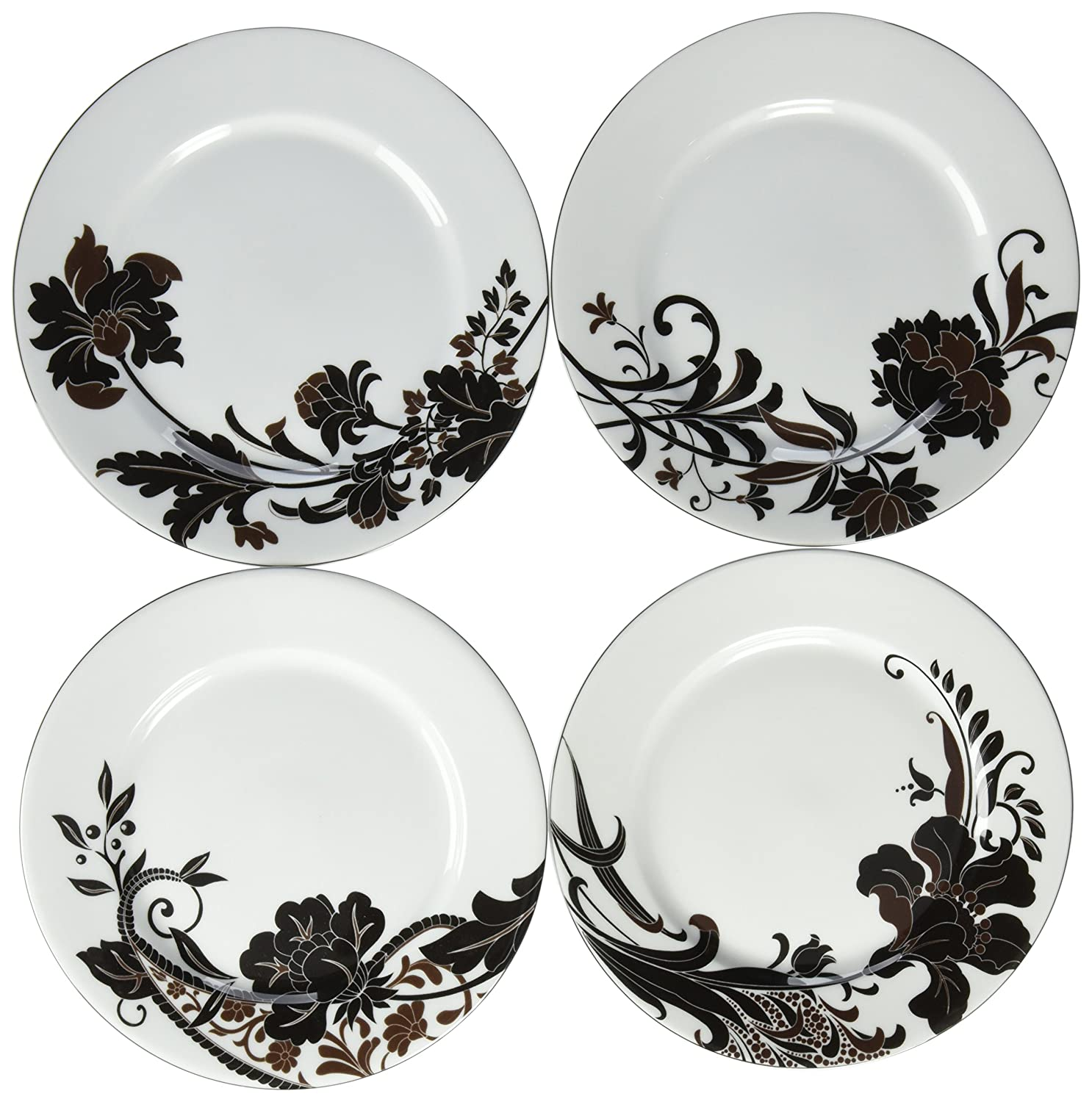 Mikasa Cocoa Blossom Set of Four Accent Plates Lifetime Brands 5050739