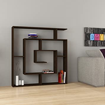 Maze Modern Unique Best Selling 6 Shelf Bookcase Dark Brown H:50.8u0026quot; W