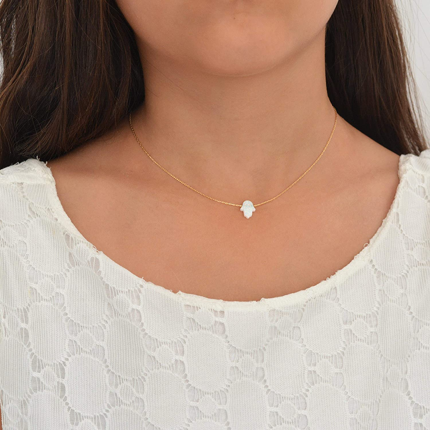 White Opal Hamsa hand Necklace 14k Gold Filled 16 inch 2 extension