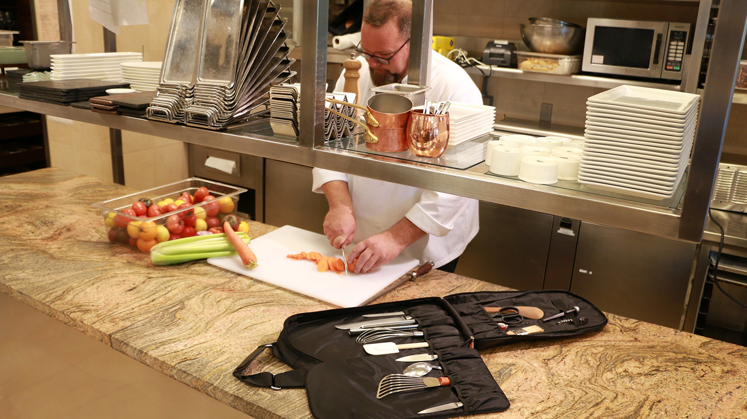 M(sqd) Roundsman Chef Knife Bag, Holds 17 Knives and Utensils with 3 Pockets for Tablet and Notebook by M(sqd) (Image #7)