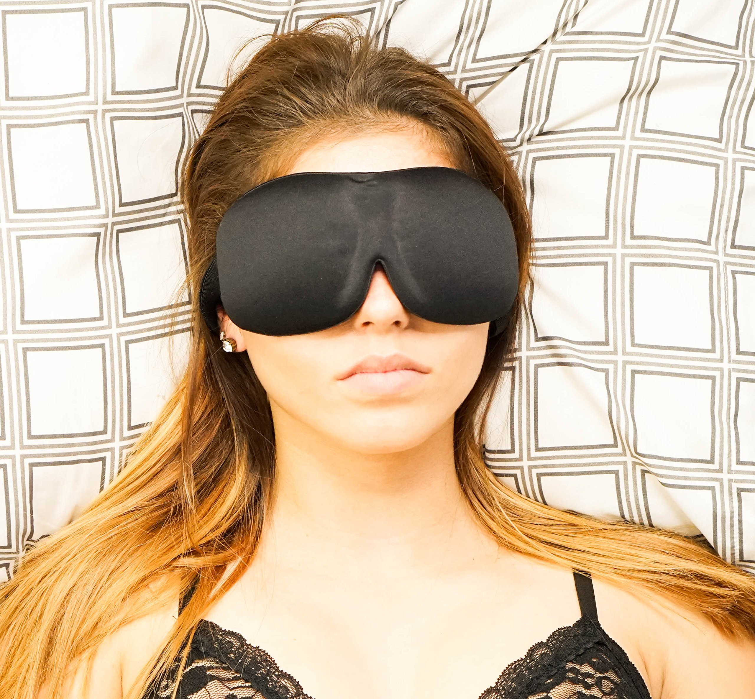 [TOP RATED] Sleep Mask with Earplugs PREMIUM Quality Contoured Eye Mask - Lightweight With Adjustable Strap - Blocks The Light Completely - Best For Travel, Insomnia or Quiet Night Sleep by SleePedia (Image #5)
