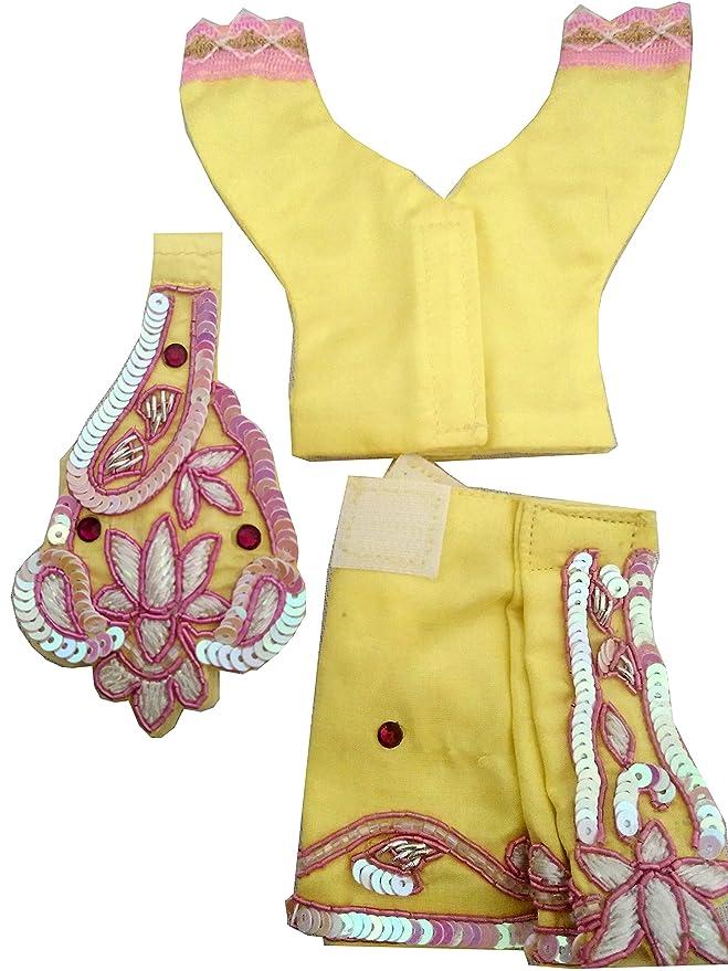 24e5fb9ee Buy Yellow sequin work Gaur Natai dress with mukut mala 6 inch ...