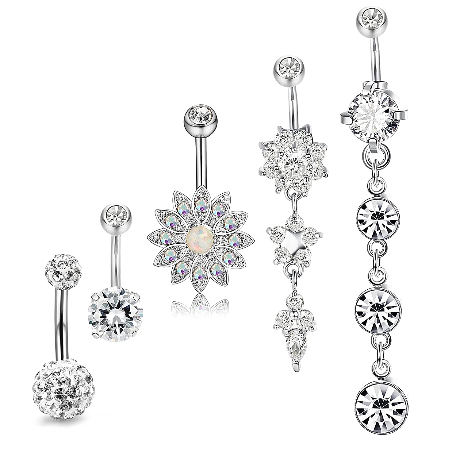 JOERICA 3-6PCS 14G Stainless Steel Belly Button Rings Navel Body Jewelry Belly Piercing CZ Inlaid PD-6PSZ