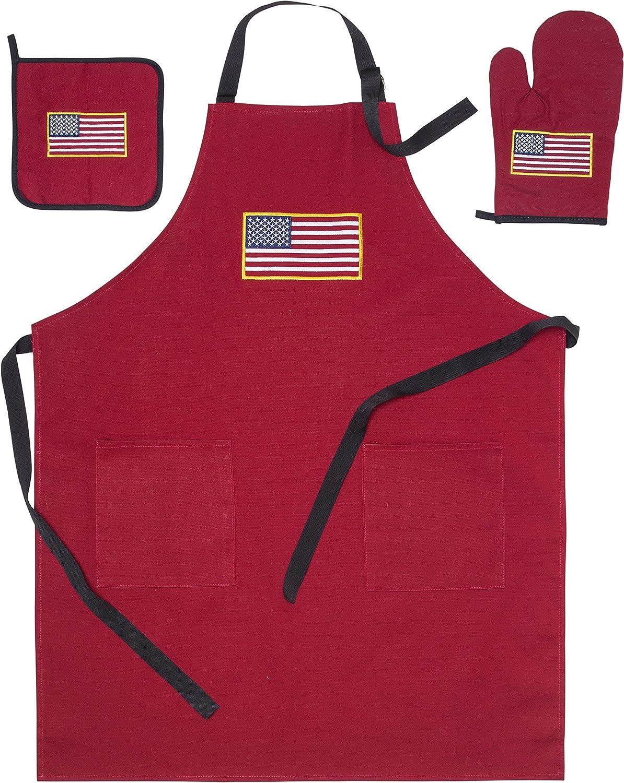 PrimeMarket Linens USA American Flag Apron 2 Pockets, Oven Mitt, Hot Pad Set