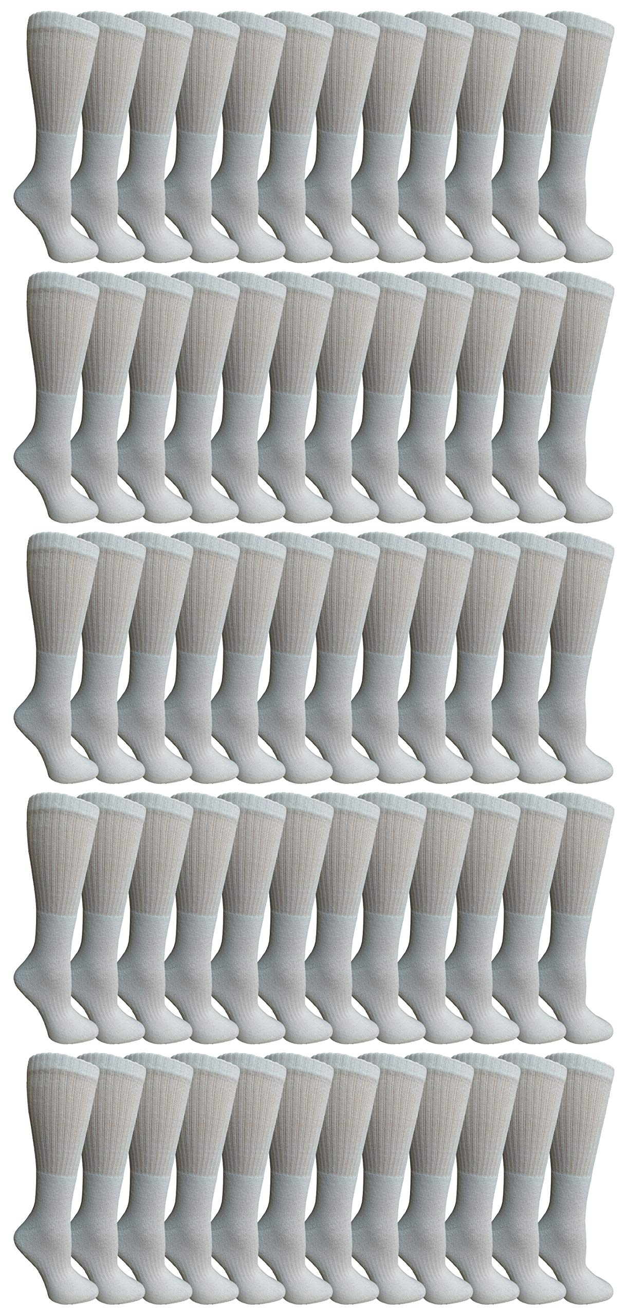 Yacht & Smith 60 Pairs of Kids Sports Crew Socks, Wholesale Bulk Pack Sock by SOCKS'NBULK (White)