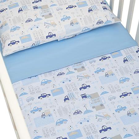 autor silbar Paciencia  CangooCare© - Juego de sábanas de 3 piezas para cuna, ropa de cama, 60 x  120 cm, 100% algodón, sábana encimera, funda nórdica/saco doble cara,  Coches: Amazon.es: Bebé