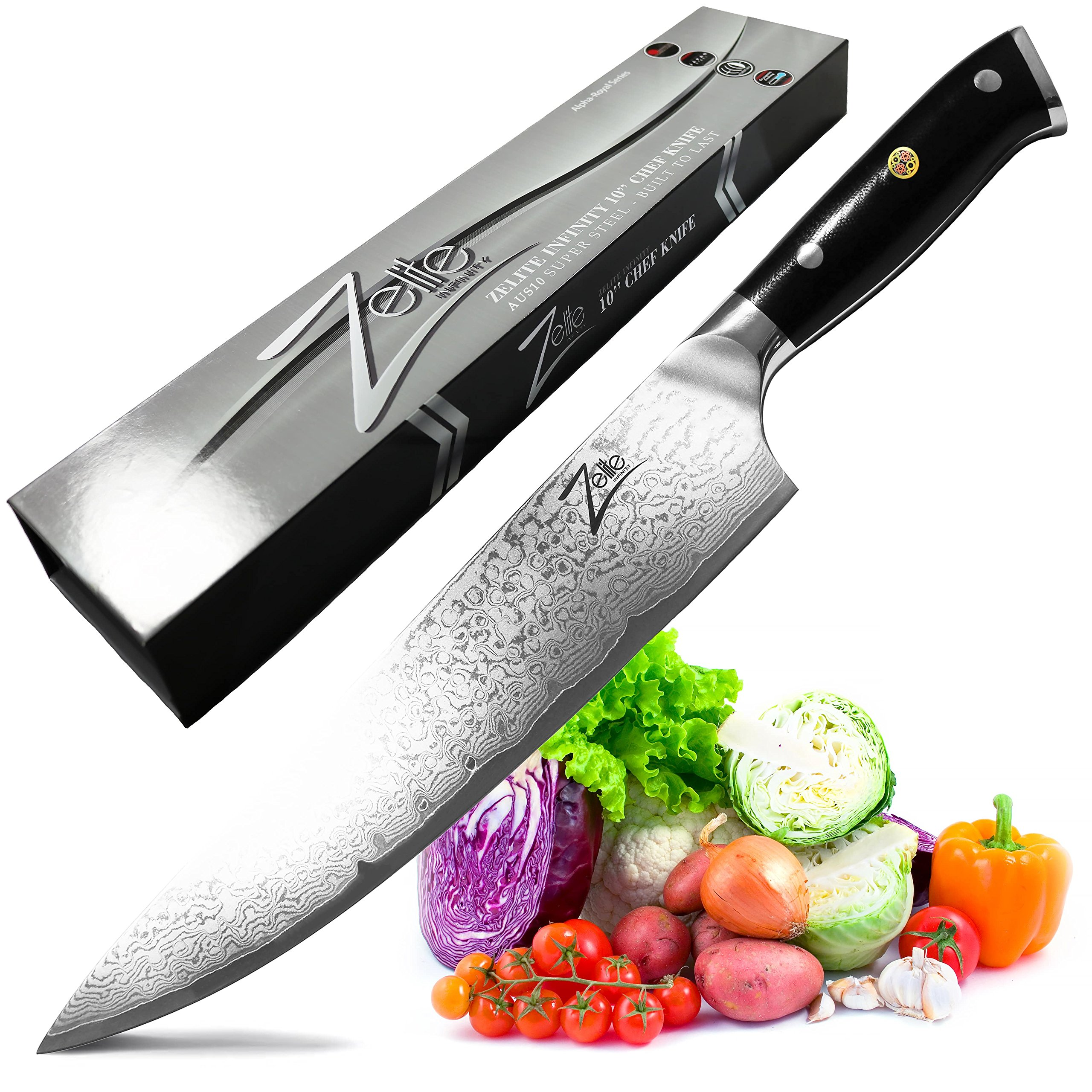 ZELITE INFINITY Chef Knife 10 Inch >> Alpha-Royal Series >> Best Quality Japanese VG10 Super Steel 67 Layer High Carbon Stainless Steel, Incredible G10 Handle, Full-tang, Long & Deep 48mm Chefs Blade by Zelite Infinity