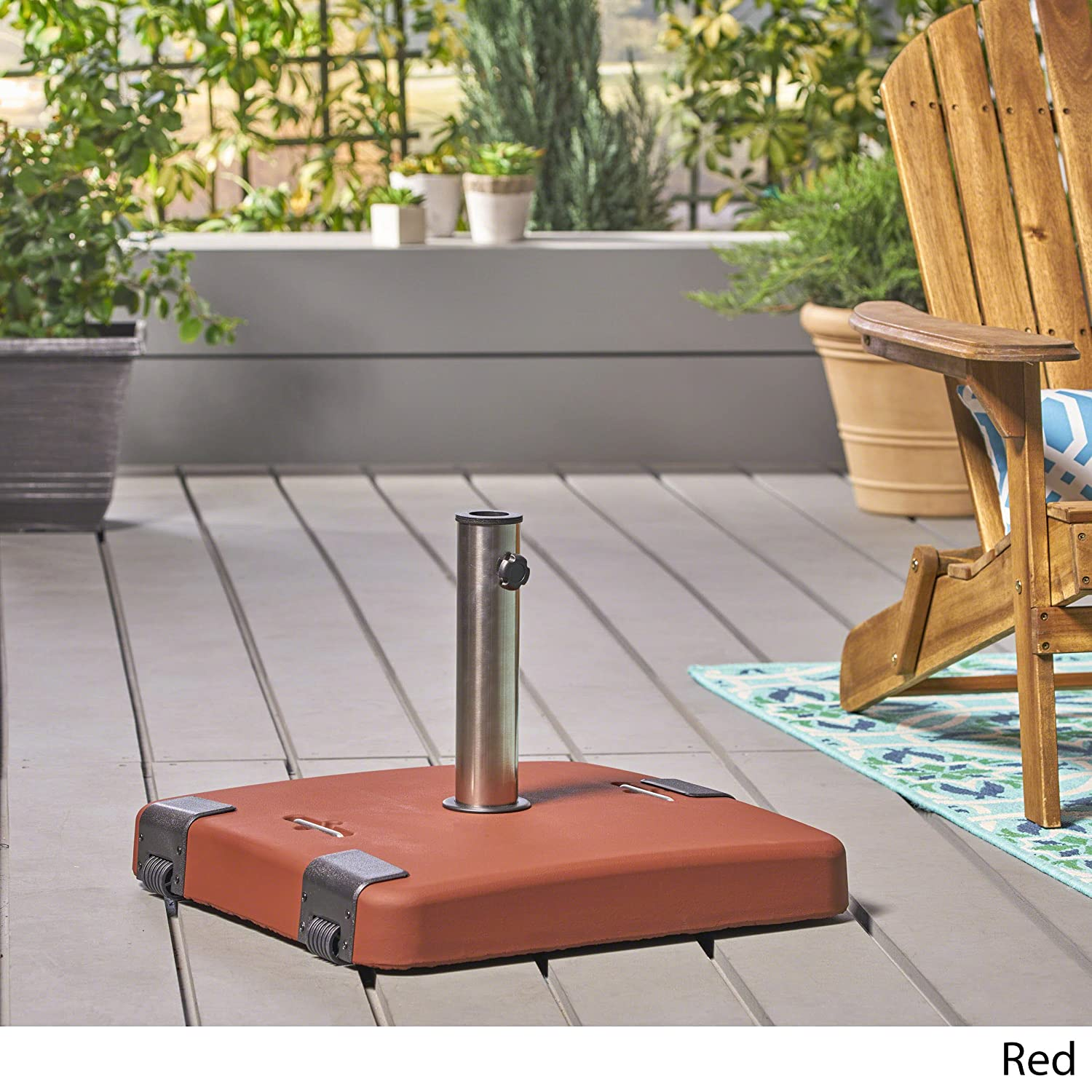 Great Deal Furniture Larissa Outdoor 119lb Concrete Square Umbrella Base with Stainless Steel Collar Black
