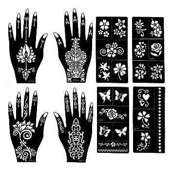 Amazon Com Henna Tattoo Stencils Pack Of 8 Henna Tattoo Kit
