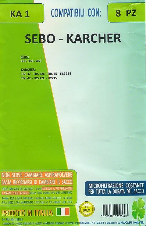 d55ccf50e838d8 FILTER KA1 Lot de 8 Sacs pour aspirateur sEBO 350 - 360 - 460 Kärcher TBS