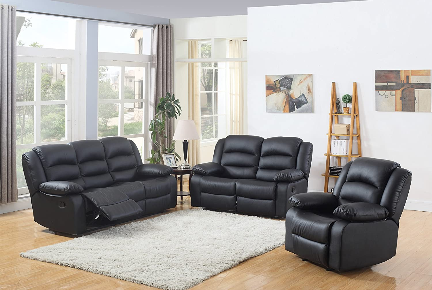 Amazon com classic and traditional black real grain leather recliner set sofa double recliner loveseat recliner single chair recliner kitchen dining