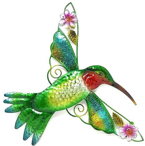 Amazon Com Bejeweled Display Hummingbird W Glass Wall Art Plaque