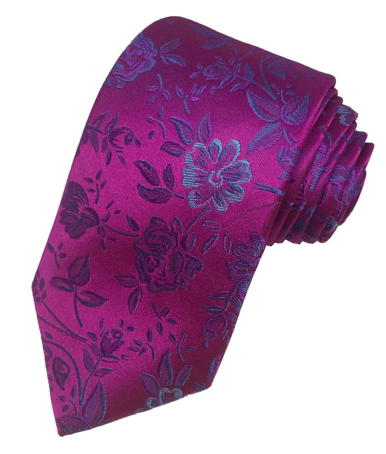 91c394e04 TED BAKER London Mens 100% Woven Silk Neck Tie Necktie Hot Pink Purple Blue  Floral  Amazon.co.uk  Clothing